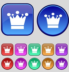 Crown icon sign A set of twelve vintage buttons vector