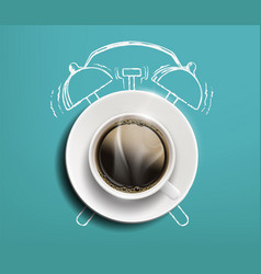 cup coffee on table drawn sketch alarm vector image