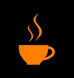 cup of coffee sign orange icon on black vector image