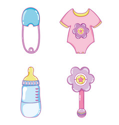 Cute baby collection cartoons vector