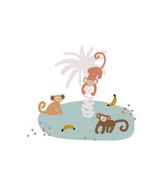 cute cartoon monkey on island childish vector image