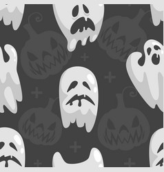 cute little ghosts seamless pattern happy vector image