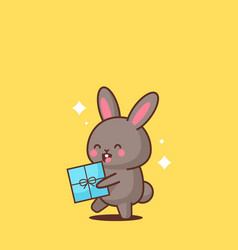 cute rabbit holding wrapped present box happy vector image