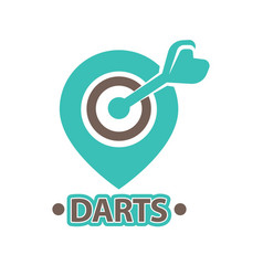 Darts club isolated icon of arrow in vector