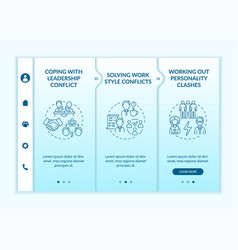 Dealing with team conflicts onboarding template vector