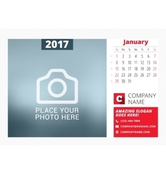 Desk calendar template for 2017 year print vector image