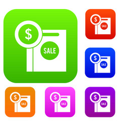 dollar sign and shopping bag for sale set vector image