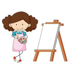 doodle artist girl painting vector image