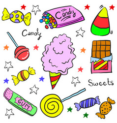 Doodle of colorful candy style vector
