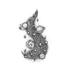 Dotwork space star planet vector