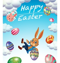 Easter festival with bunny and decorated eggs vector