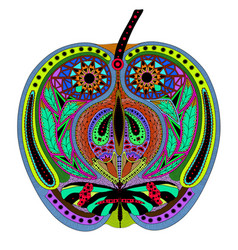 Entangle stylized color apple hand drawn vector