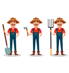 Farmer cartoon character set vector