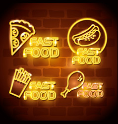Fast food with neon lights icons vector
