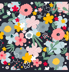 Flowers blossom seamless pattern vector