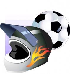 foot ball and helmet vector image