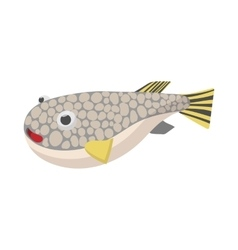 Fugu fish icon cartoon style vector image