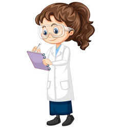 Girl in science gown on isolated background vector