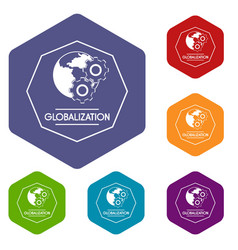 Globalization icons hexahedron vector