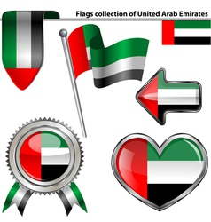 Glossy icons with United Arab Emirates flag vector image