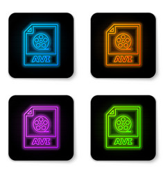 Glowing neon avi file document icon download avi vector