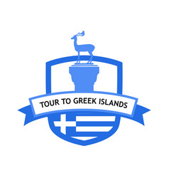 greek islands cruise banner with national flag vector image