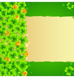 Green clovers background with golden coins vector image