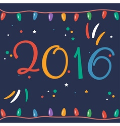 Greeting card for New 2016 Year in flat design vector image