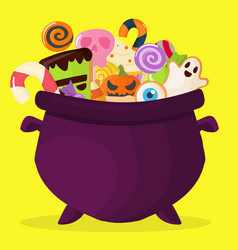 halloween party cauldron colorful sweets cupcakes vector image