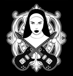 hand drawn of nun with guitars and baroque frame vector image
