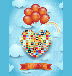 heart and balloons valentine card vector image