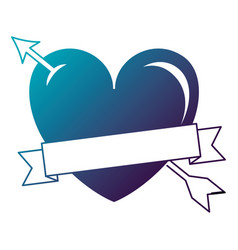heart love with arrow and ribbon vector image