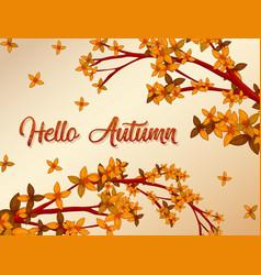 Hello autumn background concept vector