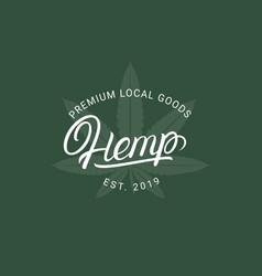 hemp hand written lettering logo vector image