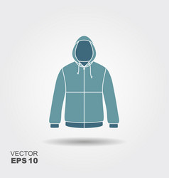 hooded jacket flat icon with shadow sportswear vector image