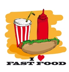 I love fast food card design vector image