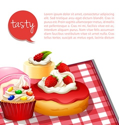 Infographic desserts with strawberry flavor vector