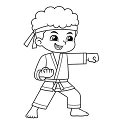 karate boy performing fist technique bw vector image