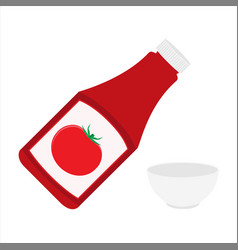 ketchup bottle and empty tomato ketchup bowl vector image