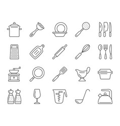 kitchenware simple black line icons set vector image