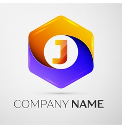 Letter J logo symbol in the colorful hexagonal on vector