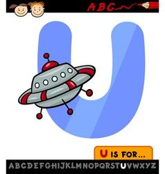 Letter u with ufo cartoon vector