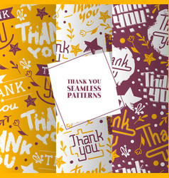lettering thank you set seamless patterns vector image