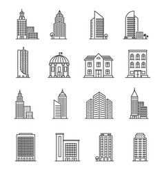 line buildings urban architecture skyscrapers vector image