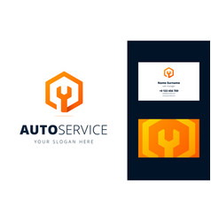 logo and business card template for auto repair vector image