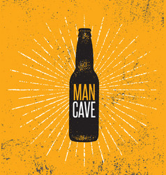 man cave rules with beer bottle creative poster vector image