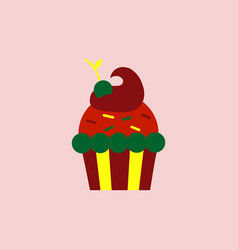 Maraschino cherry cupcake icon vector