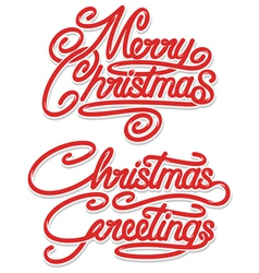 Merry christmas calligraphic text vector