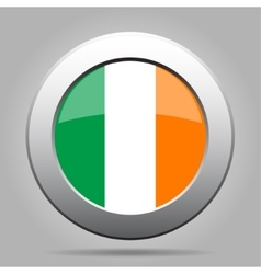 Metal button with flag of Ireland vector