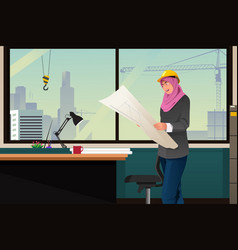 Muslim woman working in a construction office vector
